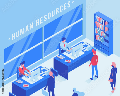 Employment service office isometric vector illustration