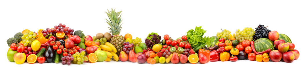 Different useful fruits and vegetables isolated on white background. Wall mural