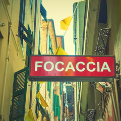 Focaccia sign in the street in Genoa