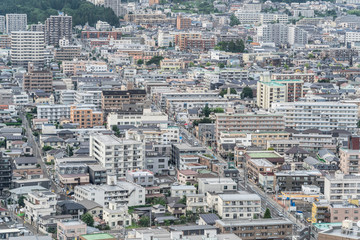 Fototapete - city skyline aerial view of Sendai in Japan