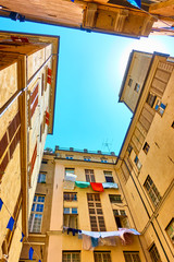 Picturesque courtyard in Genoa