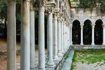 Columns of old monastery in Genoa