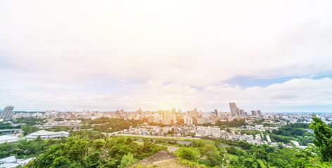 Fototapete - city skyline aerial view of Sendai in Japan