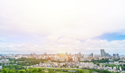 Wall Mural - city skyline aerial view of Sendai in Japan