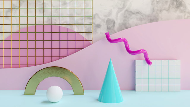 Abstract 80s background 3D render