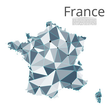 France communication network map. Vector low poly image of a global map with lights in the form of cities in or population density consisting of points and shapes and space. Easy to edit