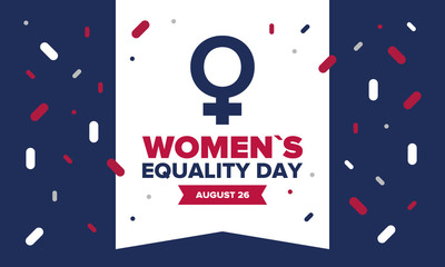 Women's Equality Day in United States. Female holiday, celebrated annually in August 26. Women right history month. Feminism concept. Poster, greeting card, banner and background. Vector illustration