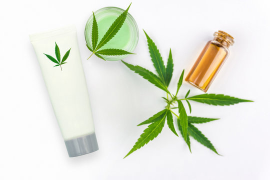 CBD Cannabis Hemp topical cream and oil balm with cannabis leaf