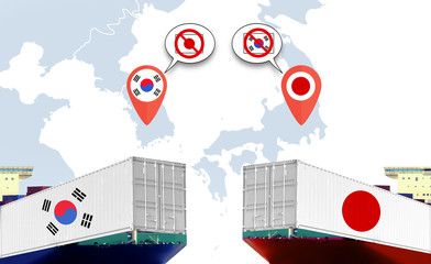 Concept image of Japan - South Korea trade war, Japan Export ban, Economy conflict ,Tensions
