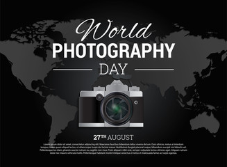 Black World Photography Day Background Banner with Map