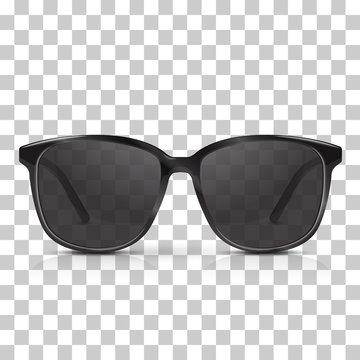 Vector realistic dark sunglasses isolated on transpatrent background. Modern trendy eyeware.