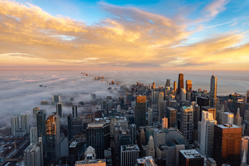 Wall Mural - Chicago skyline at sunrise