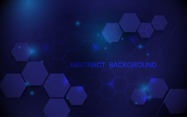 Wall Mural - Abstract blue hexagons with technology digital hi tech concept background