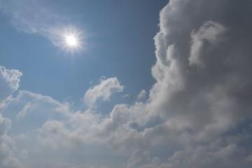 太陽と積乱雲/紫外線が強いの夏のイメージの縦長写真