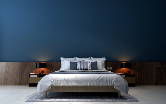 The modern bedroom interior design and blue wall texture background