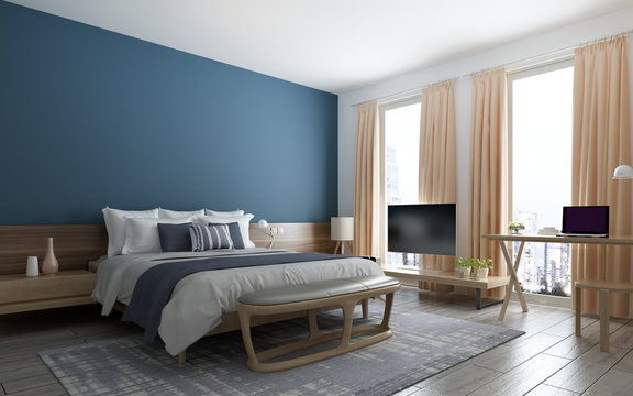 The modern loft bedroom and blue texture wall background