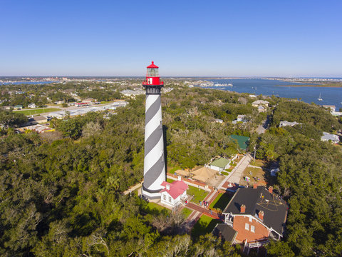 St. Augustine Lighthouse aerial view. This light is a National Historic Landmark on Anastasia Island in St. Augustine, Florida, USA.