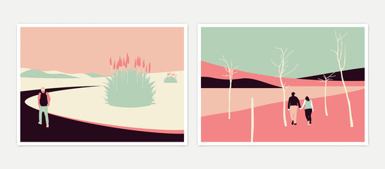 Minimalist landscape poster design, people enjoying their time at the park, pink and green tones