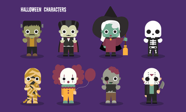 Halloween cute scary ghost characters set