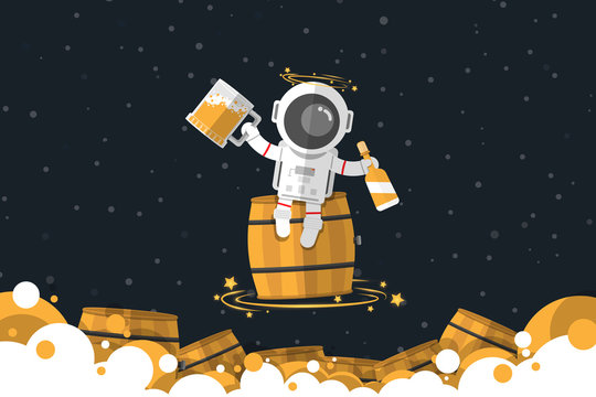 Flat design, Drunk Astronaut sitting on wooden barrel while holding a big glass of beer and beer bottle ,Vector illustration, Infographic Element