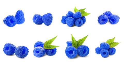 Set of fresh sweet blue raspberries on white background. Banner design Fototapete