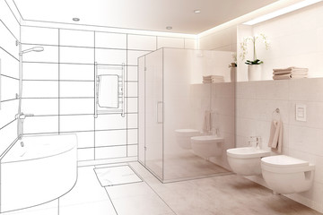 3d illustration. Sketch of modern white bathroom interior