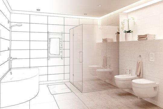 3d illustration. Sketch of modern white bathroom interior