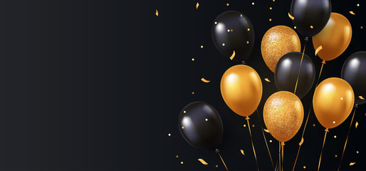 Celebration, festival background with helium balloons. Greeting banner or poster with gold and black realistic 3d vector flying balloons. Celebrate a birthday poster. Happy anniversary card.