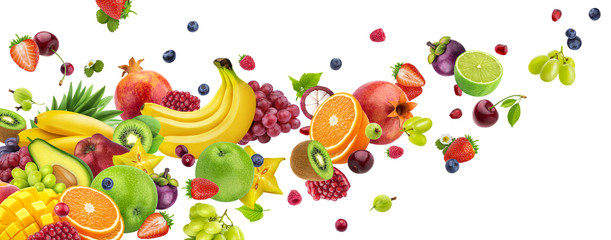 Obraz Flying fruits and berries isolated on white background - fototapety do salonu