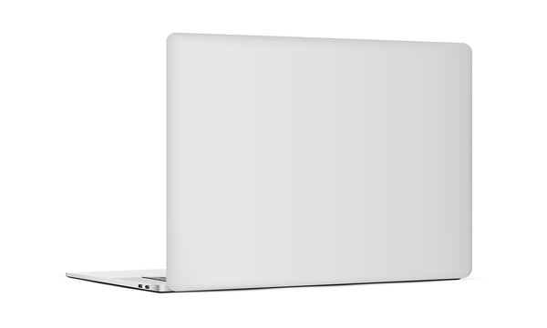 Laptop backside isolated on white background. Vector illustration