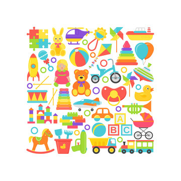 Baby toys print. Vector. Kids toy card in square shape. Set Baby stuff isolated on white background. Cartoon illustration. Cute children icons in flat design. Colorful banner.