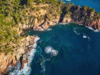 Aerial picture over the Costa Brava coastal, near the small town Palamos of Spain