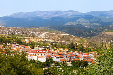 Cyprus, view to the village of Omodos is the Monastery of the Holy cross and the Troodos mountains