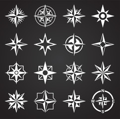 Windrose icons set on background for graphic and web design. Simple illustration. Internet concept symbol for website button or mobile app.