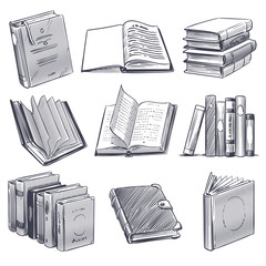 Hand drawn book. Retro sketch engraving monochrome notebooks. Library and bookstore elements, pile of old books vector set
