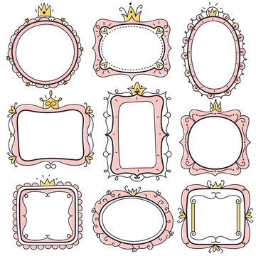 Princess frames. Pink cute floral mirror frames with crown, kids certificate borders. Little girl birthday invitation card vector set