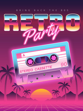 Cassettes poster. Retro disco party 80s, 90s banner, vintage audio cassette club flyer, festival invitation cover. Vector background