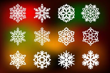 Christmas set with a snowflakes cut out of paper. Templates for laser cutting, plotter cutting or printing. Festive background.