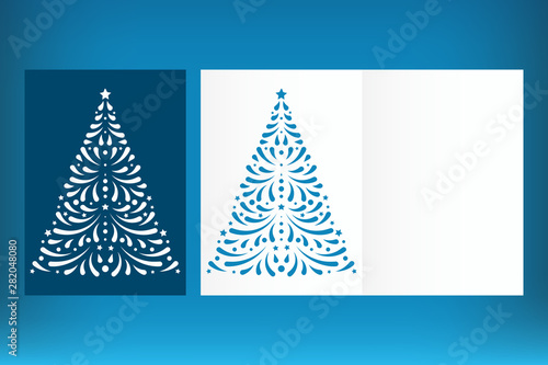 Christmas Cutout Patterns.Laser Cut Christmas Card Template With Christmas Tree Cutout