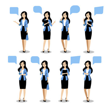 Young business woman set in different poses. Vector flat illustration. Female cartoon characte, isolated design elements