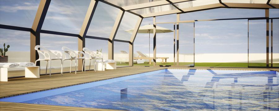 vue 3d abri de piscine et terrasse bois 02
