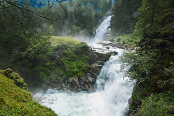 Tuinposter Bos rivier The Krimml Waterfalls in the High Tauern National Park,