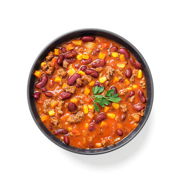 Traditional mexican dish chili con carne with minced meat and red beans. isolated on white background