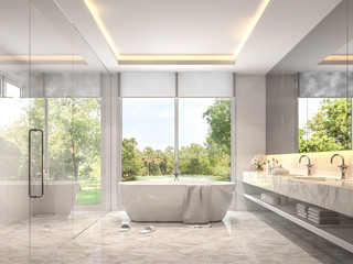 Modern luxury white bathroom 3d render. Room with marble tile floors. There is a glass shower wall. With large windows overlooking the nature