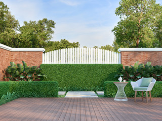 White chair in the green garden 3d render,  There are a wooden floor terrace,white wood plank and orange brick wall fence,decorated with white weave chair and green fabric pillow.