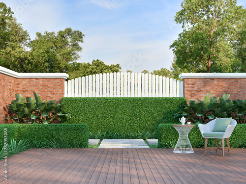 White Chair In The Green Garden 3d Render There Are A Wooden Floor