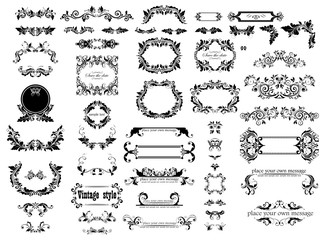 Vintage floral decorative frames, headers and title collection for wedding and heraldic design, menu card, restaurant, cafe, hotel, jewellery store, logo templates, monogram Wall mural