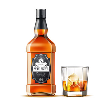 Realistic whiskey glass and bottle. Traditional alcohol drink bottles mockup. Brandy, scotch brown beverage bottles. Vector strong alcohol drinks.