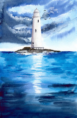 Watercolor picture of a lighthouse on the rocky island with dark clouds and seagulls