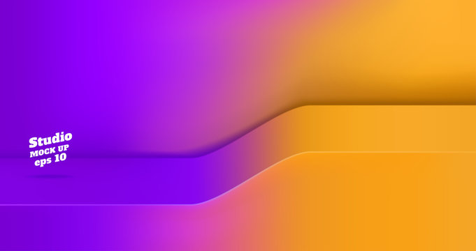 Vector Empty vivid purple gradient to orange yellow studio table with slope step room background ,product display with copy space for display of content design.Banner for advertise product on website.